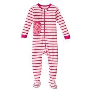 Baby Gap Pink Striped Ladybug Footed Pajamas